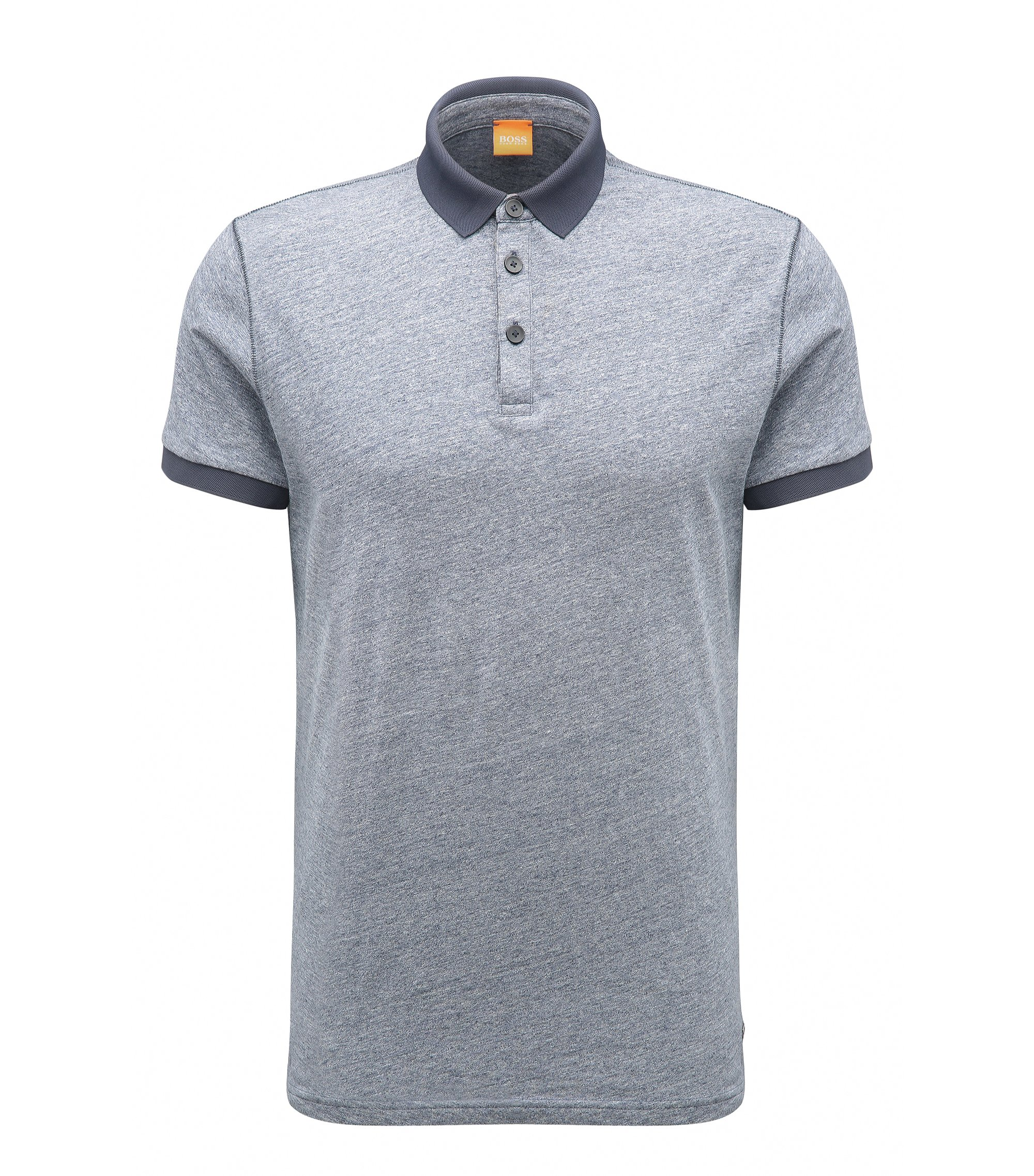 Melange Cotton Polo Shirt, Regular Fit | Performer, Dark Blue