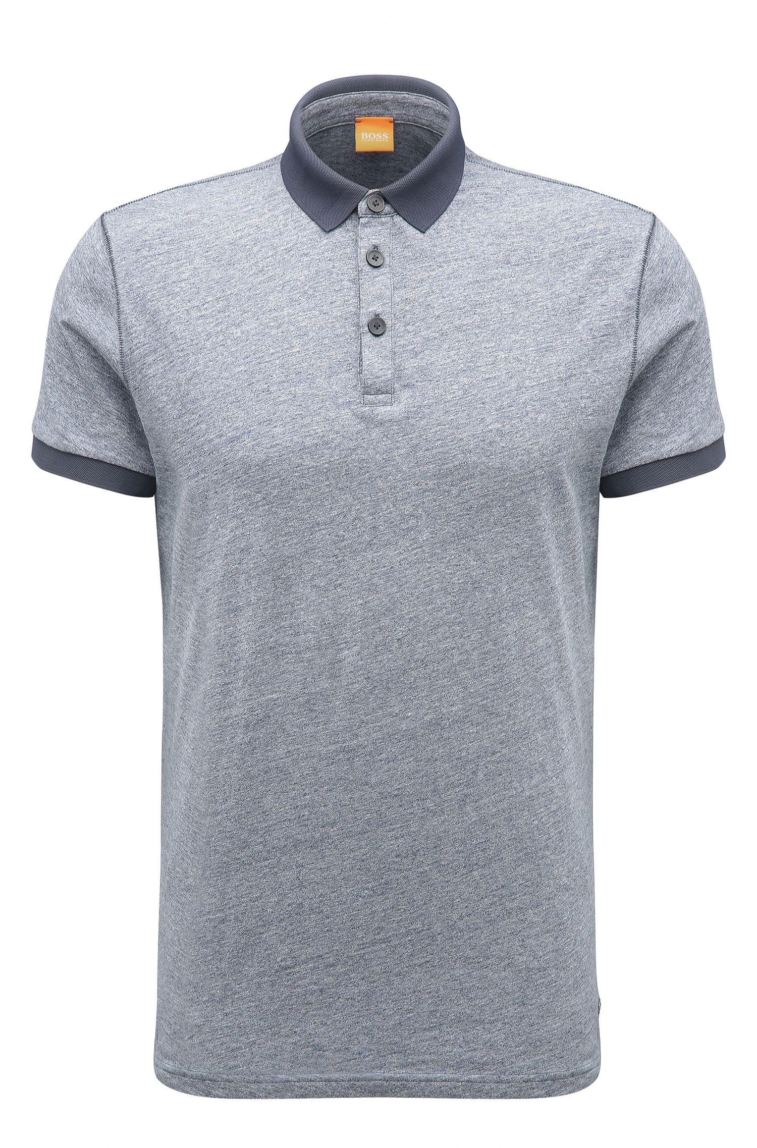'Performer' | Regular Fit, Melange Cotton Polo Shirt