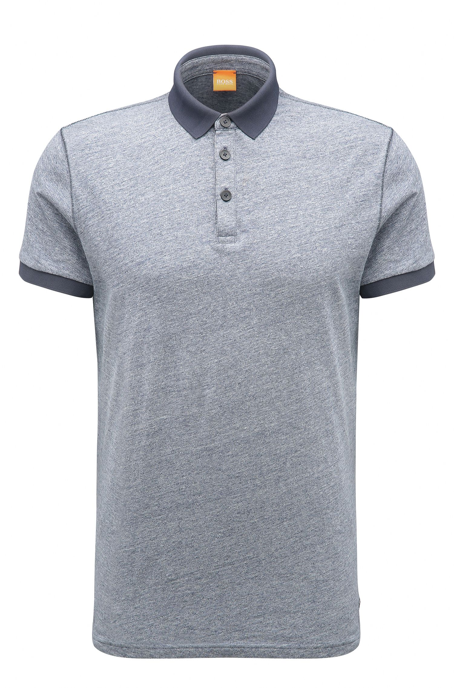 Melange Cotton Polo Shirt, Regular Fit | Performer, Dark Blue