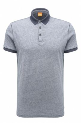 'Performer' | Regular Fit, Melange Cotton Polo Shirt, Dark Blue