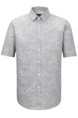 'Luka' | Regular Fit, Stretch Cotton Button Down Shirt, Natural
