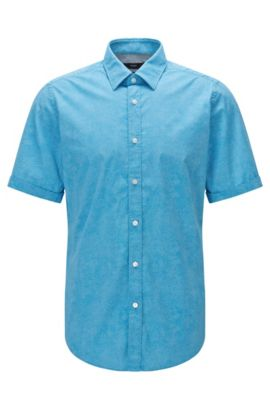 'Luka' | Regular Fit, Stretch Cotton Button Down Shirt, Light Blue