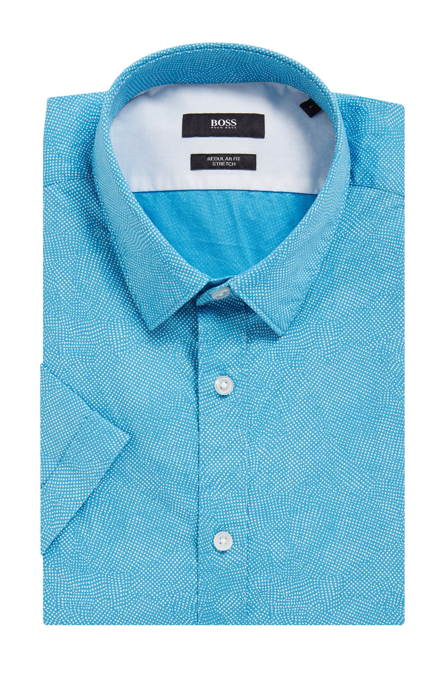 Stretch Cotton Button Down Shirt, Regular Fit | Luka, Light Blue