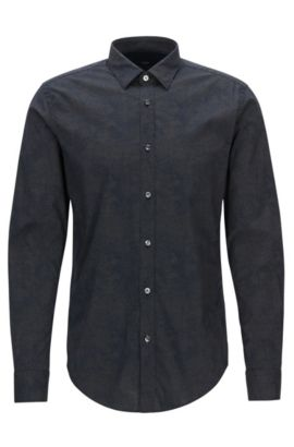 'Ronni' | Slim Fit, Microdot Stretch Cotton Poplin Button Down Shirt, Dark Blue