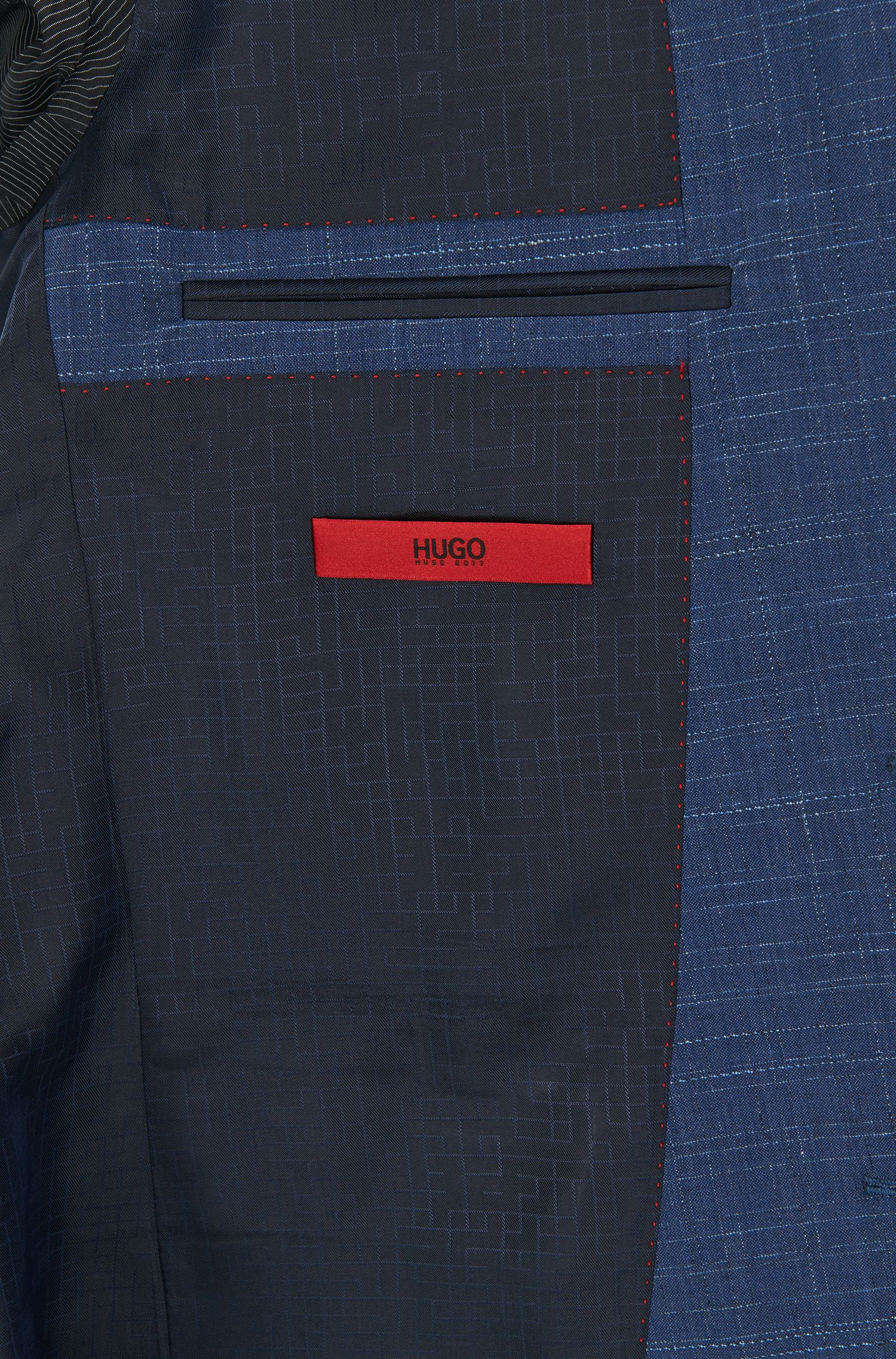 Crosshatch Virgin Wool Suit, Slim Fit | C-Harvey/C-Getlin, Open Blue