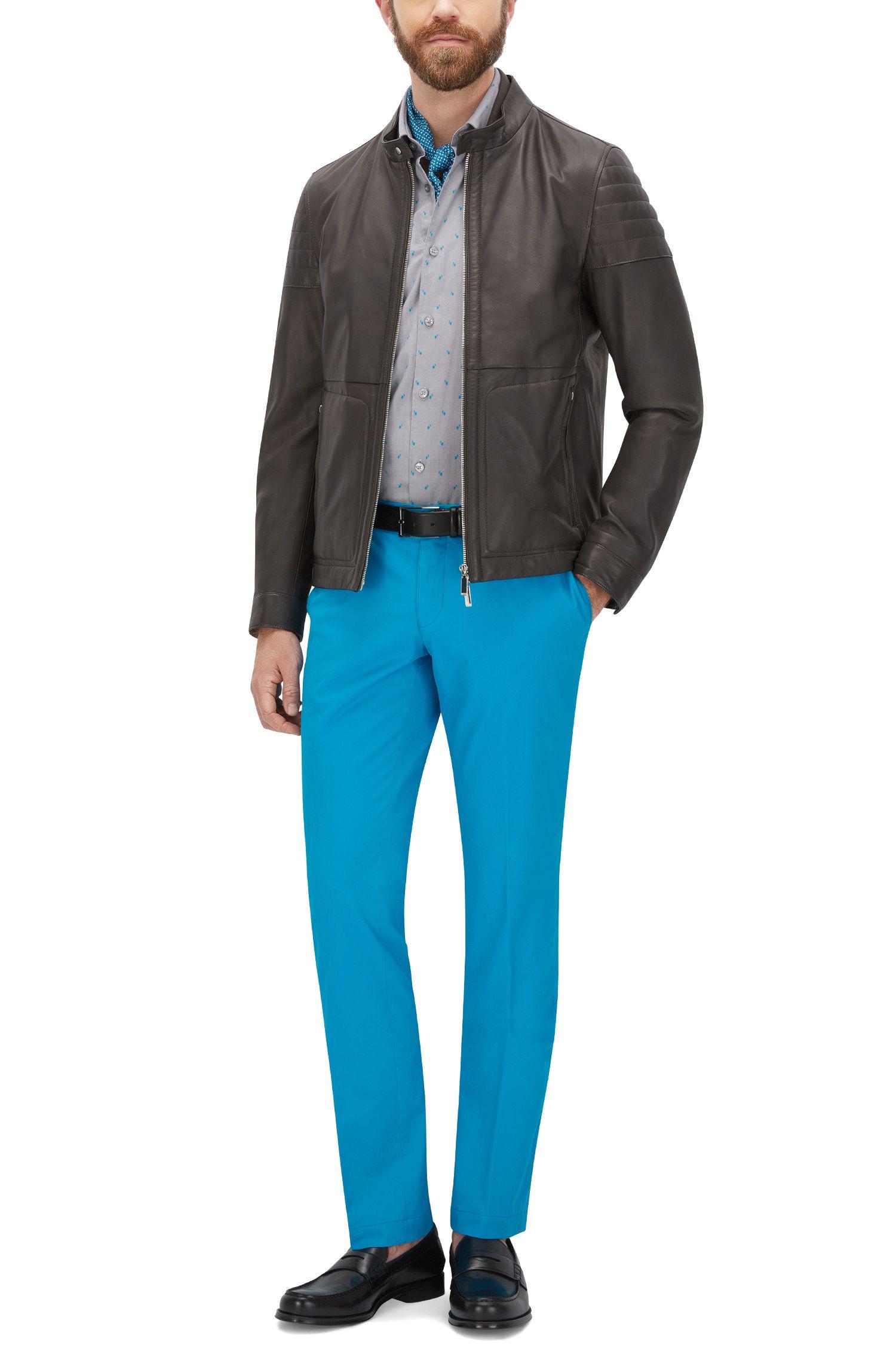 Dotted Stretch Cotton Button Sport Shirt, Regular Fit | Lance, Light Grey