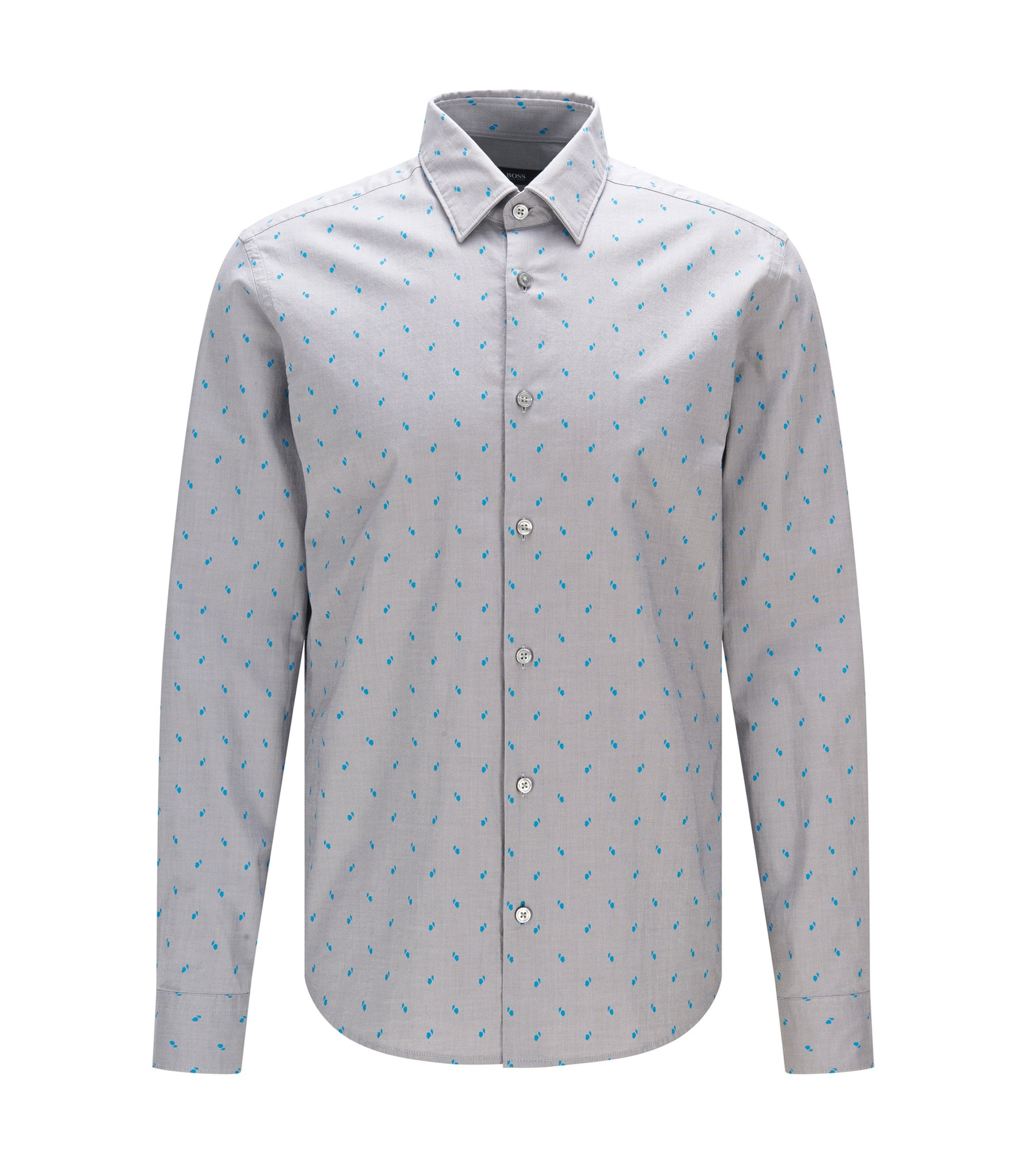 Dotted Stretch Cotton Button Sport Shirt, Regular Fit | Lance, Light Grey