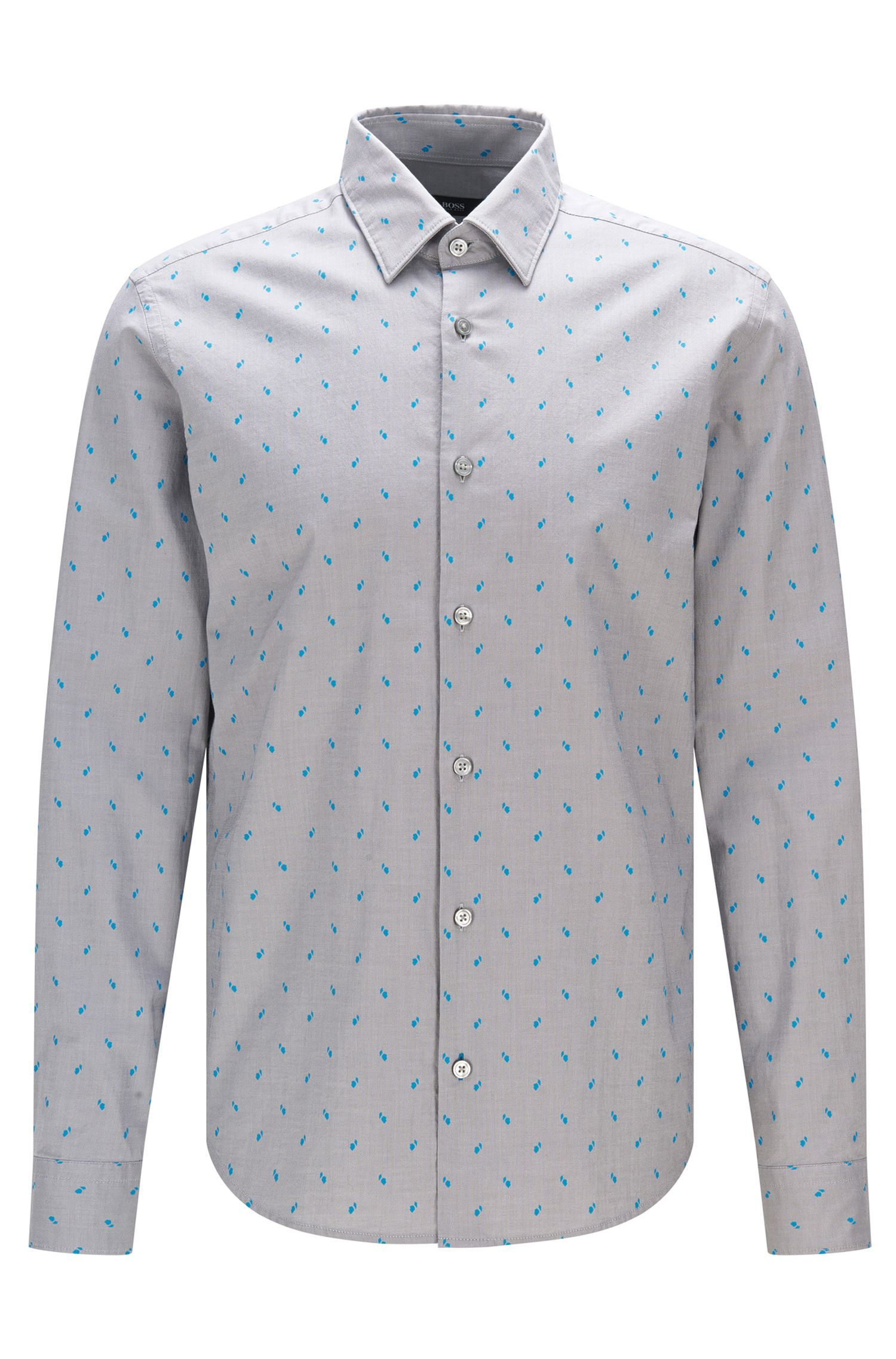 Dotted Stretch Cotton Button Sport Shirt, Regular Fit | Lance