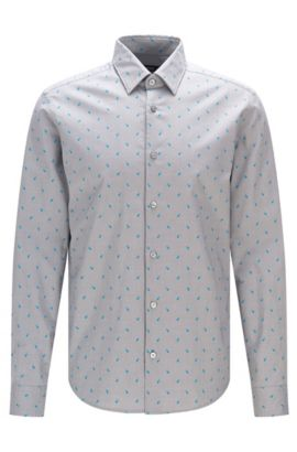 'Lance' | Regular Fit, Dotted Stretch Cotton Button Down Shirt, Light Grey