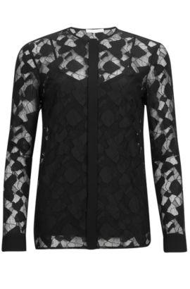 'Banela' | Lace Cotton Blend Blouse, Black