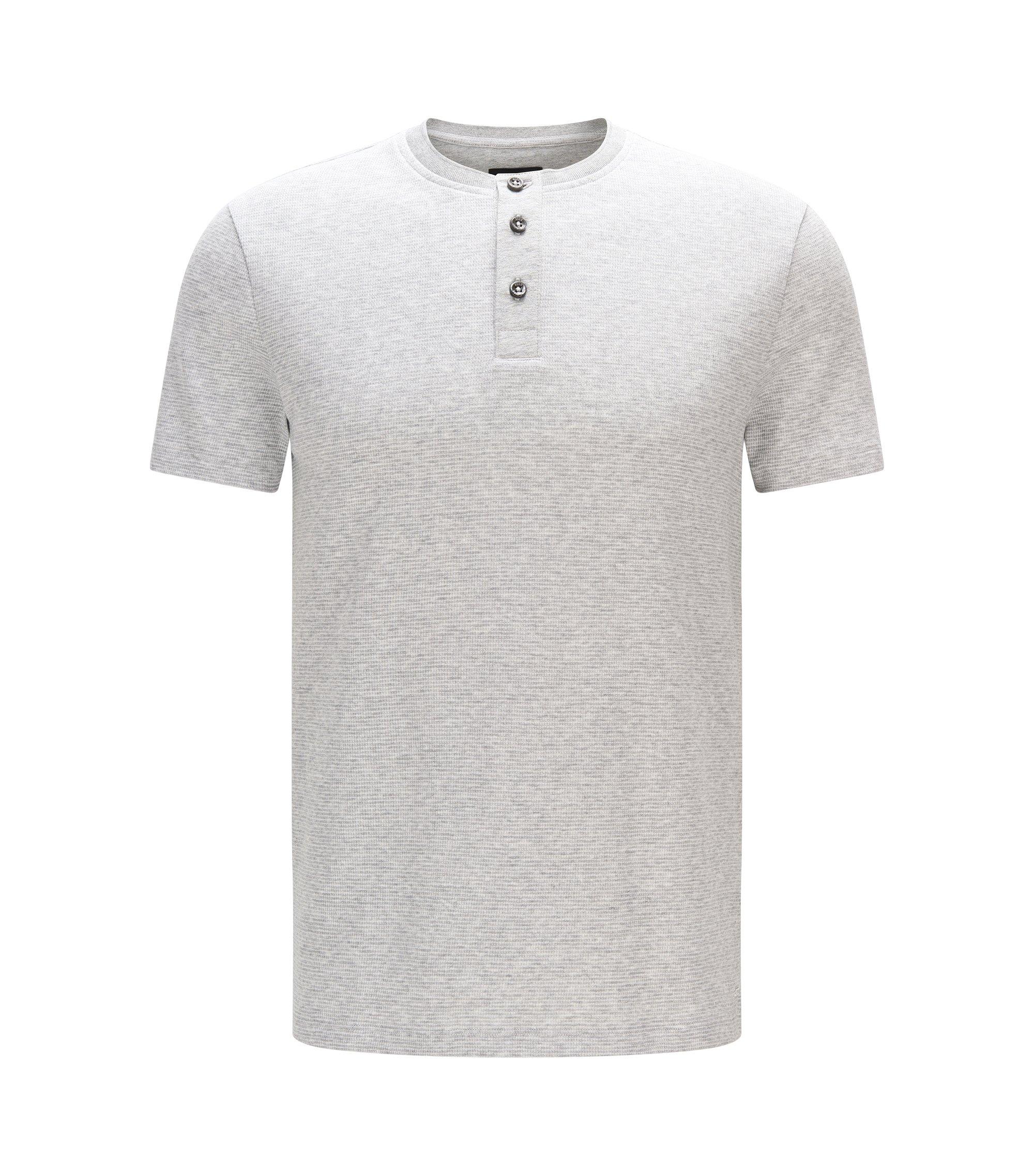 Cotton Waffle Henley Shirt | Tiller, Open Grey