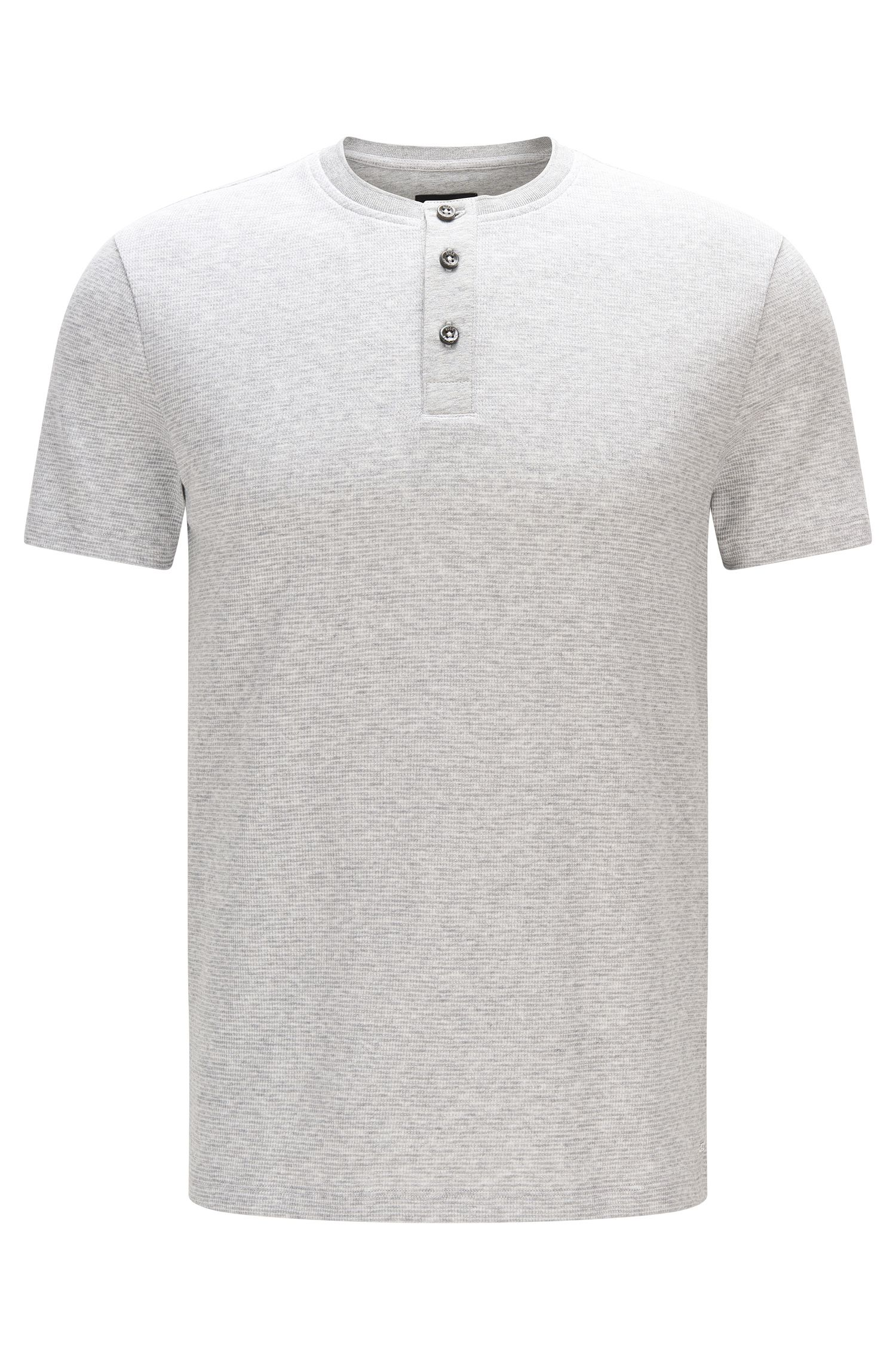 Cotton Waffle Henley Shirt | Tiller, Open Grey
