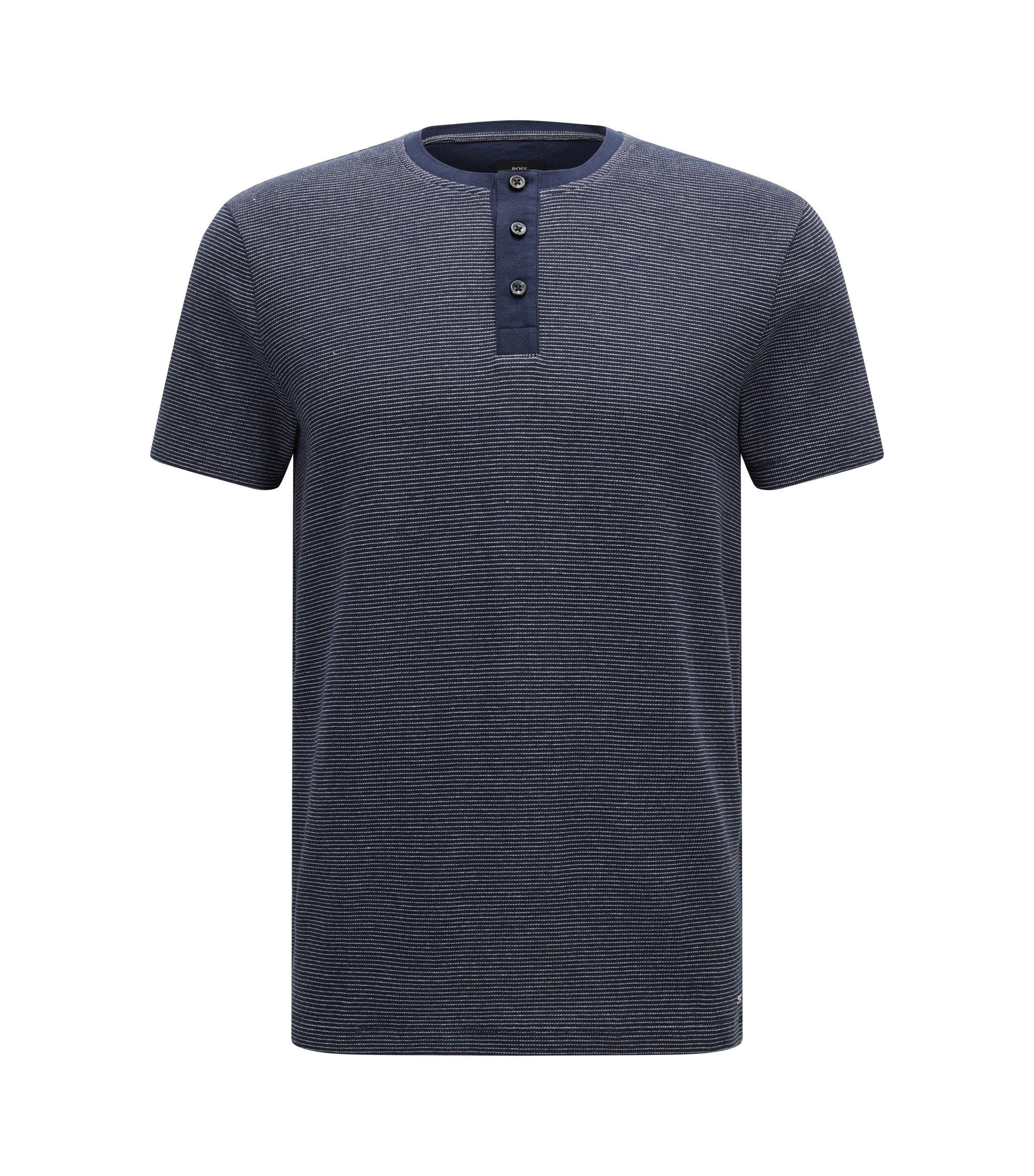 Cotton Waffle Henley Shirt | Tiller, Dark Blue