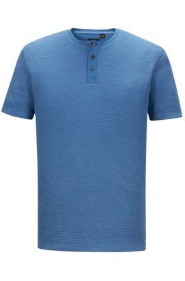 Cotton Waffle Henley Shirt | Tiller, Open Blue