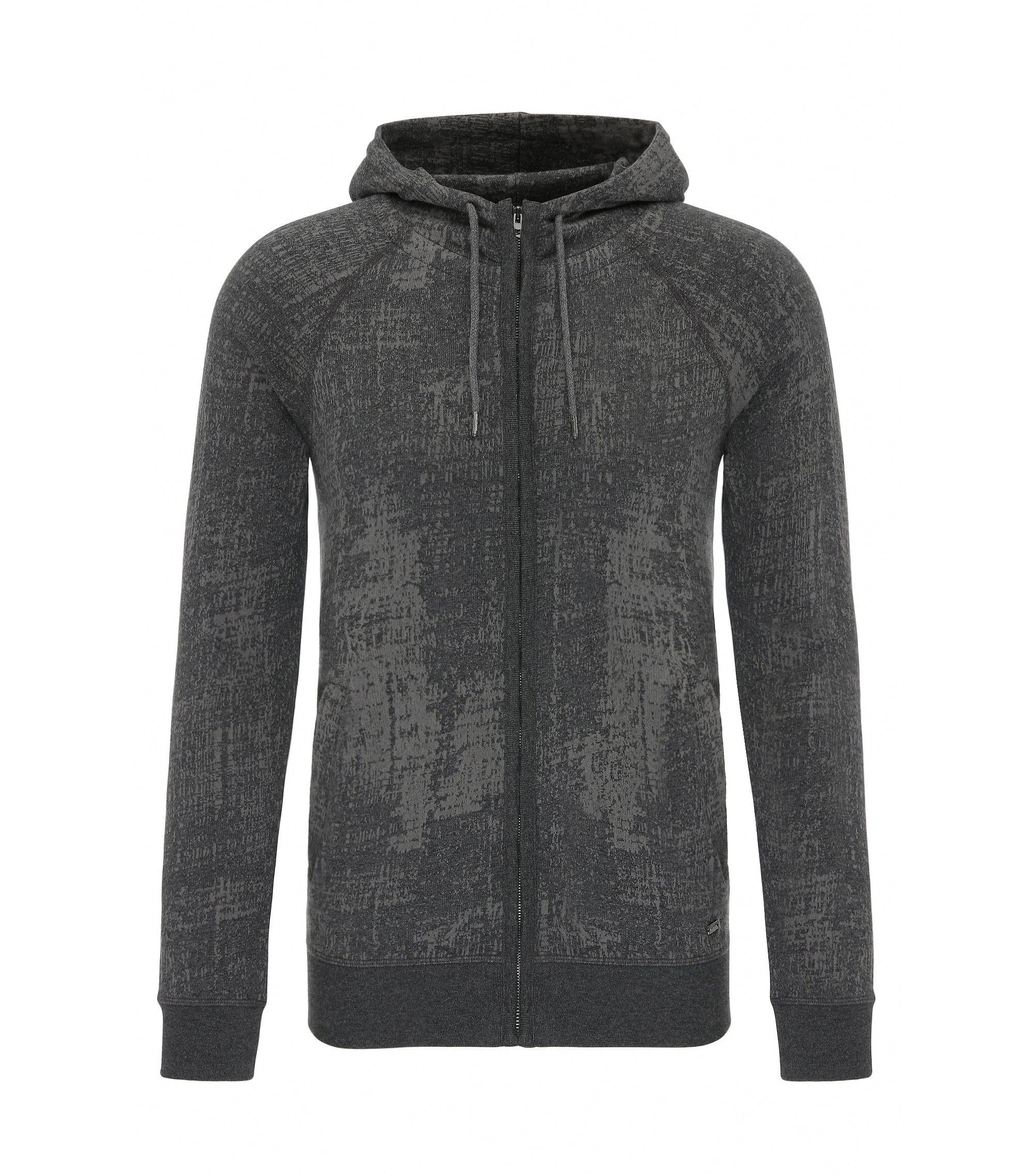 'Zpot' | Slim Fit, Cotton Hooded Sweatshirt, Black