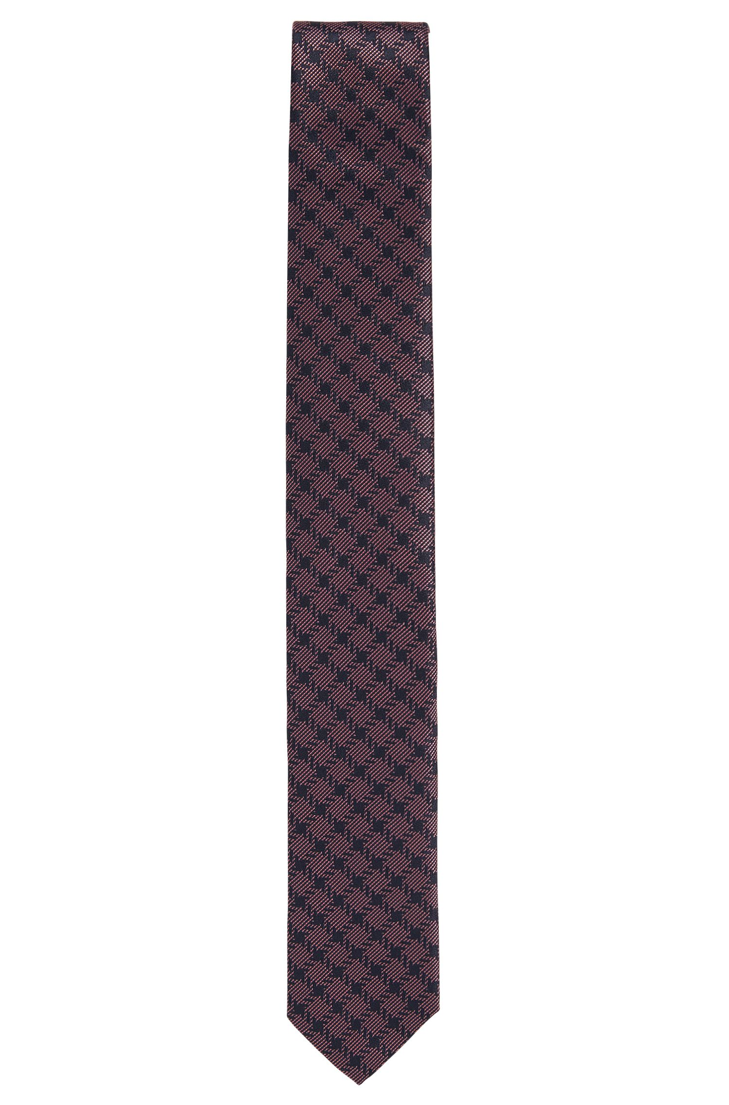 Checked Italian Silk Slim Tie, Open Purple