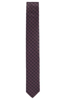 'Tie 6 cm' | Slim, Houndstooth Silk Tie, Open Purple