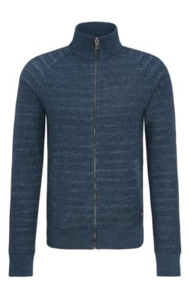 'Zlate' | Melange Cotton Full-Zip Sweater, Dark Blue