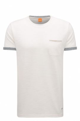 'Tile' | Cuffed Cotton Blend T-Shirt, Natural