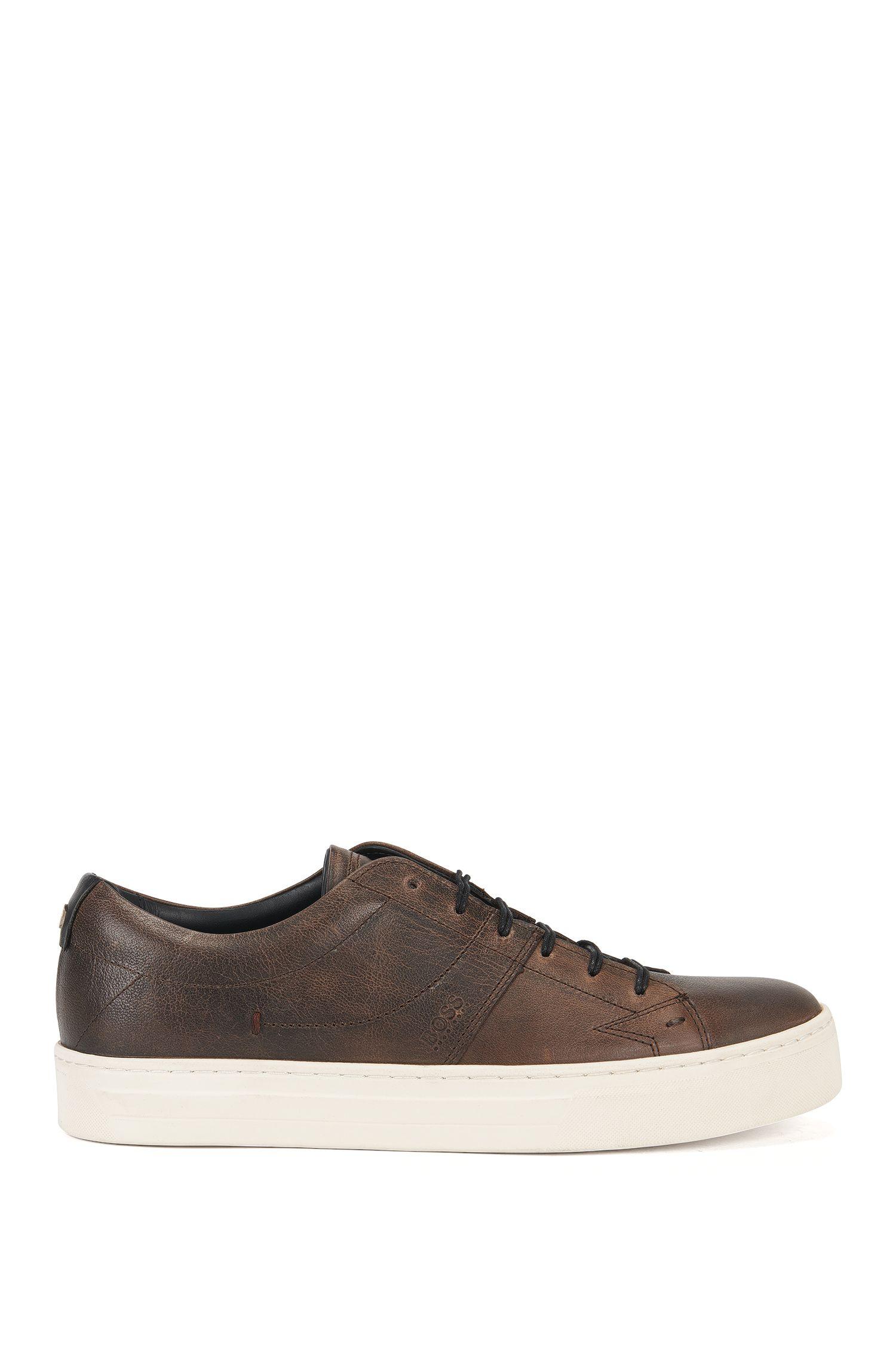 'Noir Tenn Pp' | Full-Grain Leather Tennis Shoes