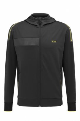 'Saggytech' | Hooded Full-Zip Sweater Jacket, Black