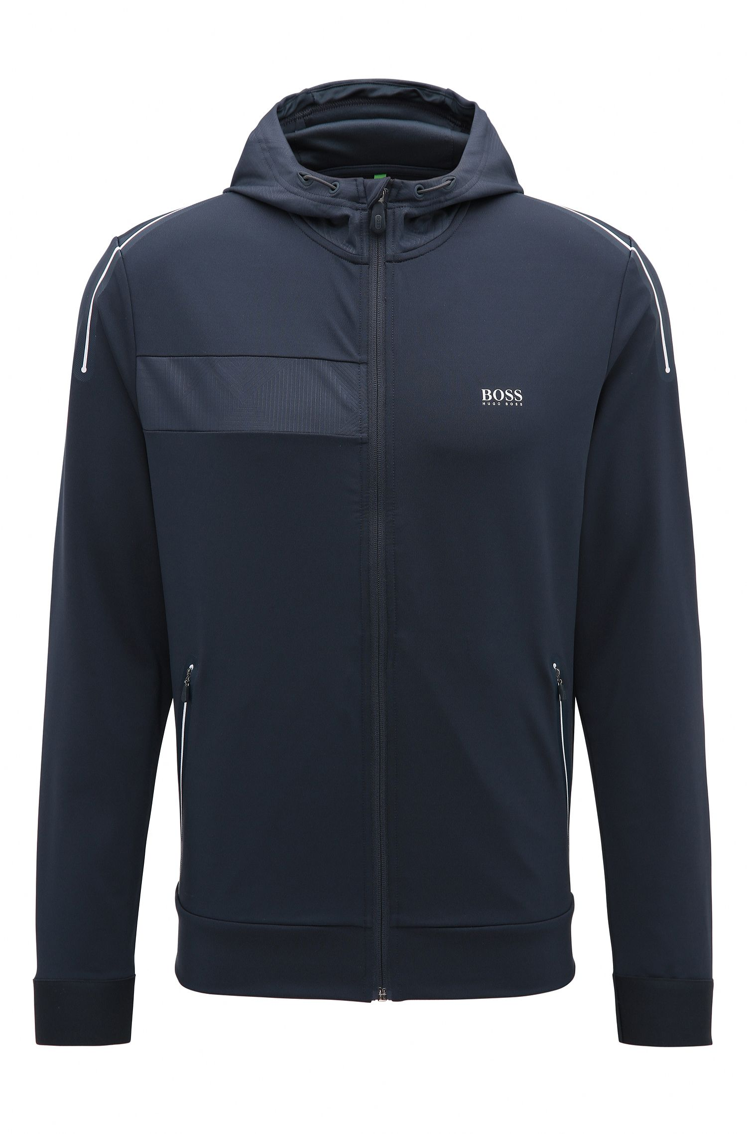 Hooded Full-Zip Sweater Jacket | Saggytech, Dark Blue