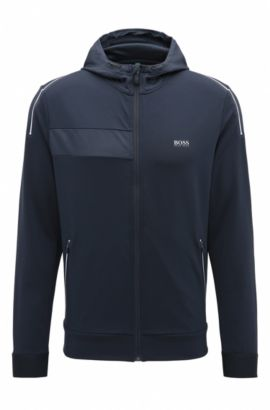 'Saggytech' | Hooded Full-Zip Sweater Jacket, Dark Blue