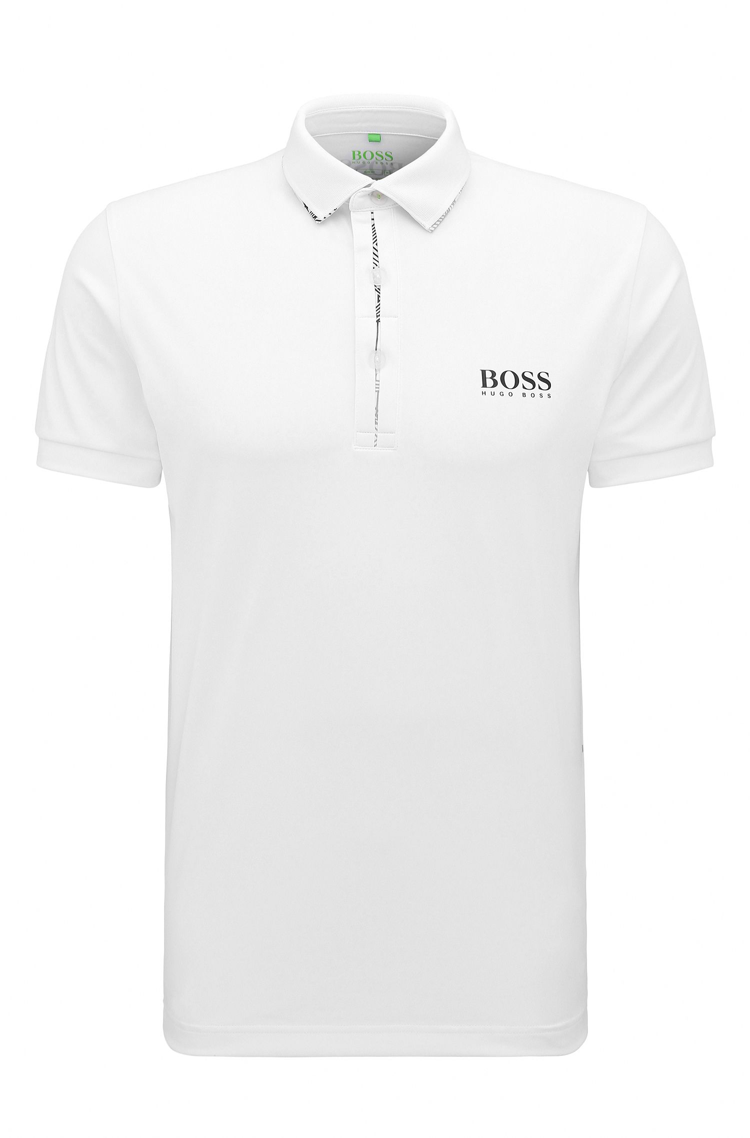 Quick-Dry Stretch Graphic Polo, Slim Fit | Paule Pro, White