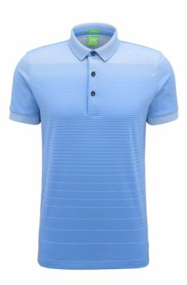 'C Janis' | Regular Fit, Striped Cotton Polo Shirt, Blue