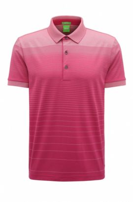 'C Janis' | Regular Fit, Striped Cotton Polo Shirt, Pink