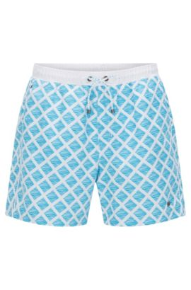 'Starfish' | Diamond Print Quick Dry Swim Trunks, Natural