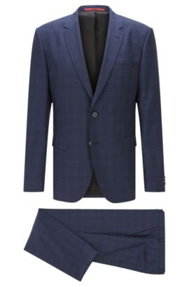 'C-Jeys/C-Shaft' | Regular Fit, Glen Plaid Italian Super 100 Virgin Wool Suit, Dark Blue