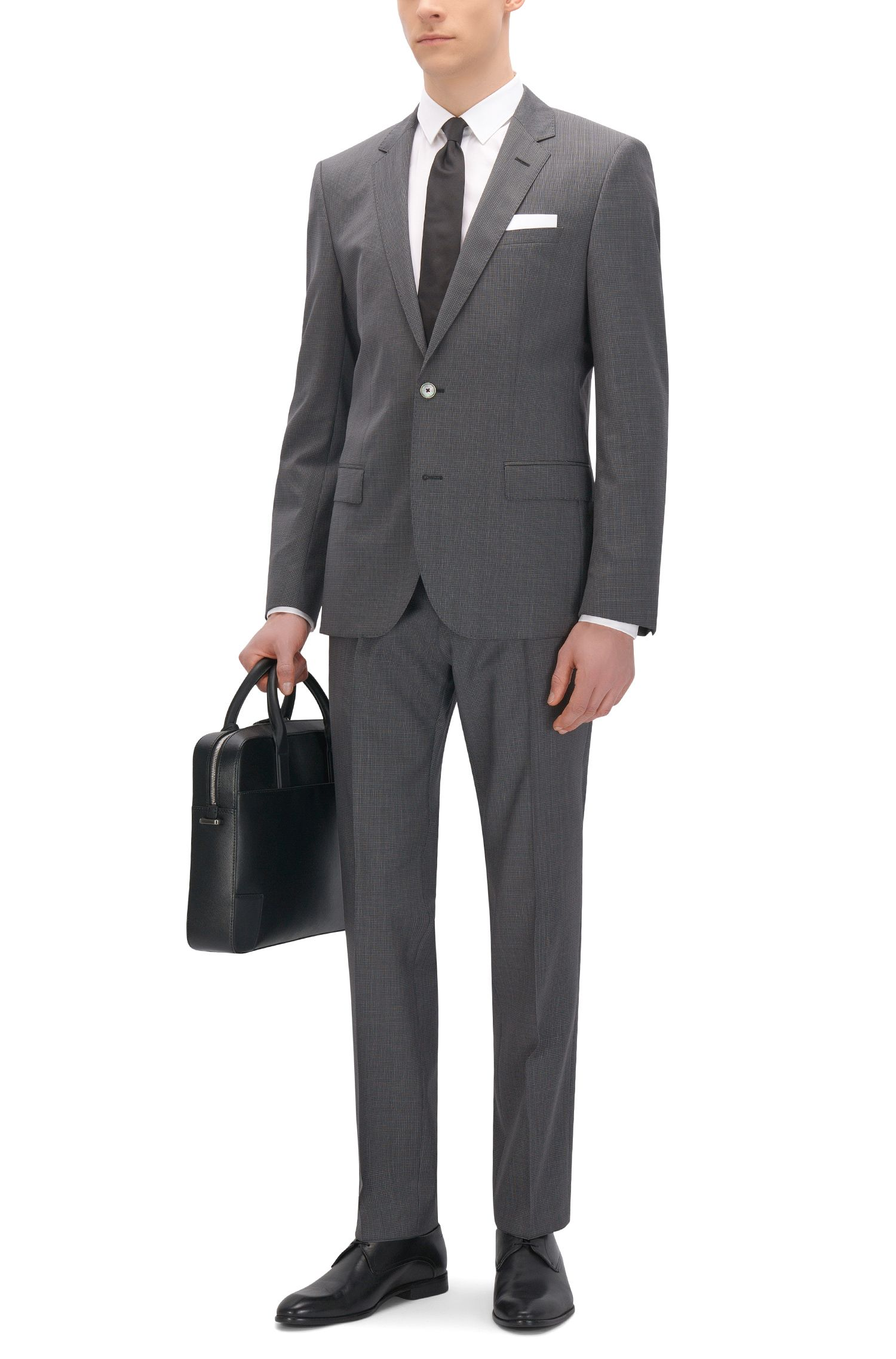 Check Wool Blend Suit, Slim Fit | C-Hutson/C-Gander, Charcoal