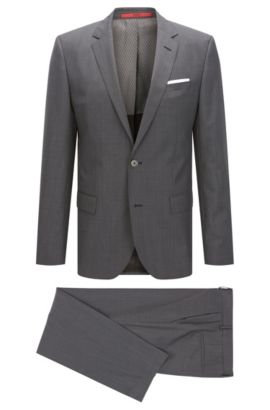Textured Check Virgin Wool Blend Suit, Slim Fit | C-Hutson/C-Gander, Charcoal