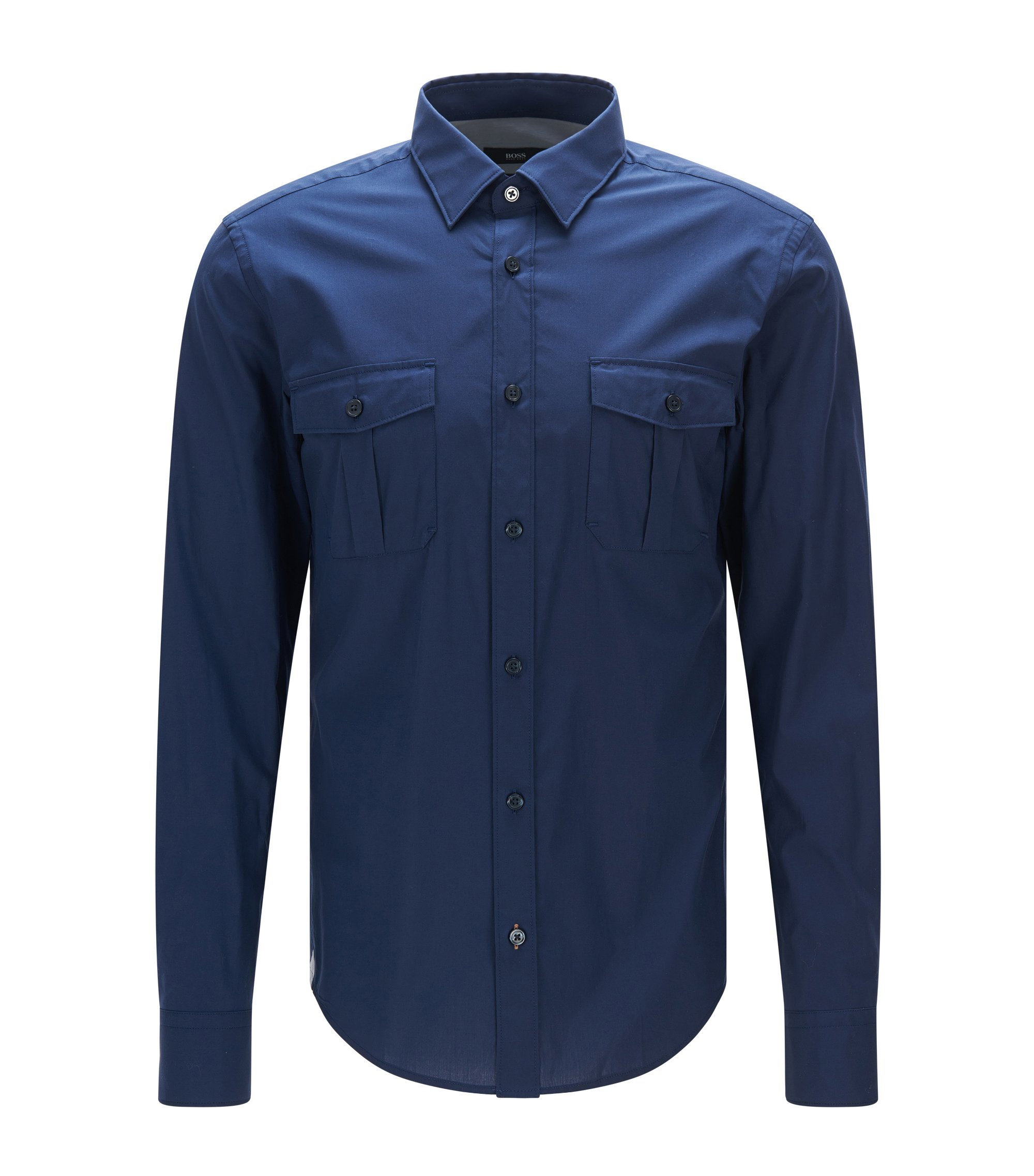 Stretch Cotton Button Down Shirt with Stretch Tailoring, Slim Fit | Ramsey, Dark Blue