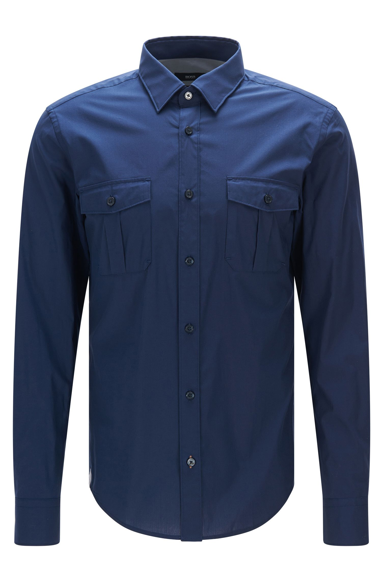 Stretch Cotton Button Down Shirt with Stretch Tailoring, Slim Fit | Ramsey