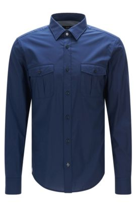 'Ramsey' | Slim Fit, Stretch Cotton Button Down Shirt, Dark Blue