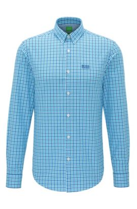 'C-Buster' | Regular Fit, Cotton Button Down Shirt, Open Blue