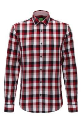 'C-Buster' | Regular Fit, Cotton Textured Button Down Shirt, Dark Red