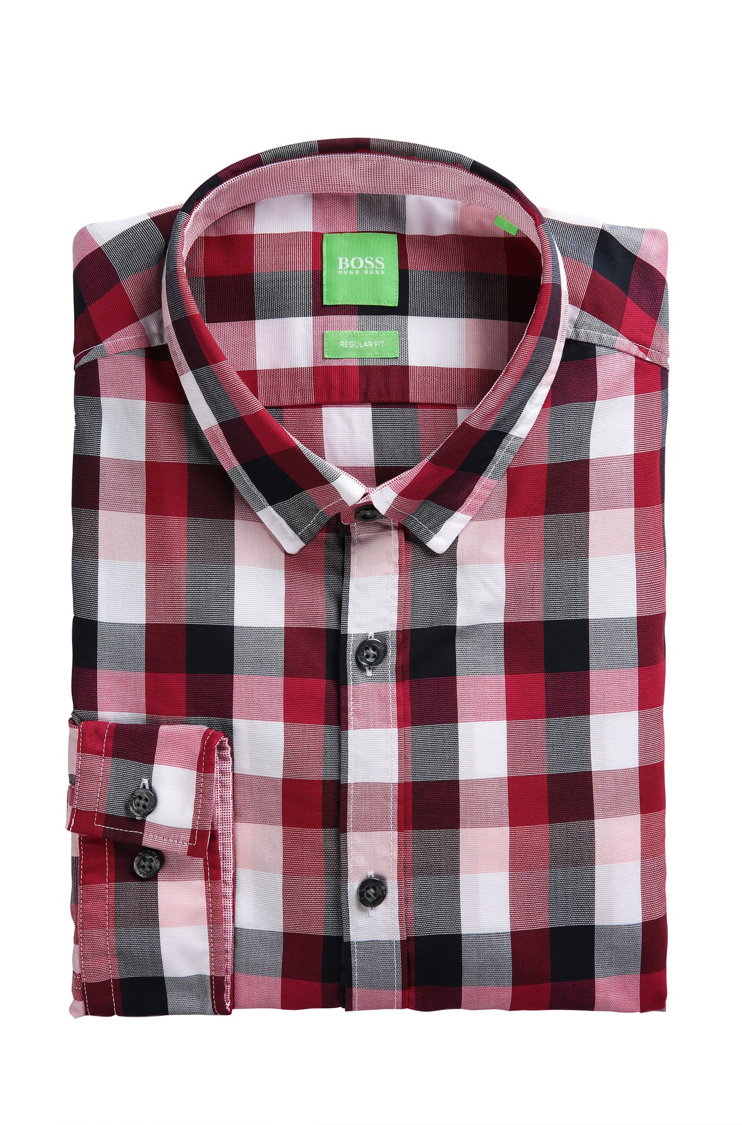 Cotton Textured Button Down Shirt, Regular Fit   C-Bence