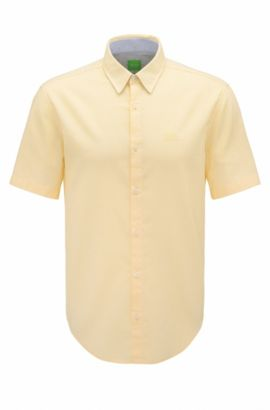 'C-Busterino' | Regular Fit, End-On-End Cotton Button Down Shirt, Yellow