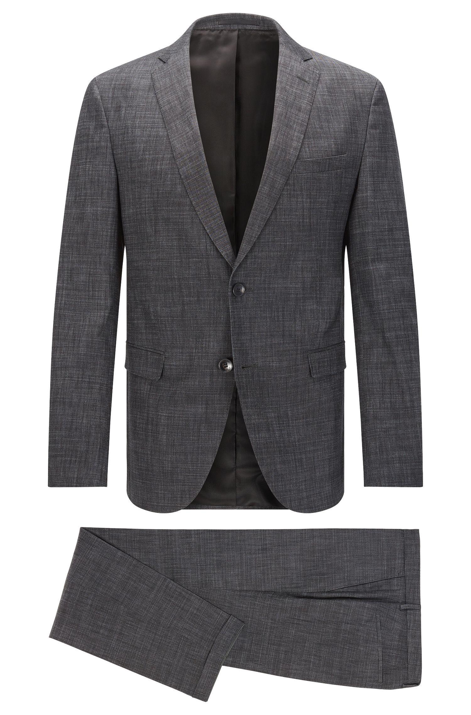 Crosshatch Stretch Cotton Blend Suit, Extra-Slim Fit | Reyno/Wave