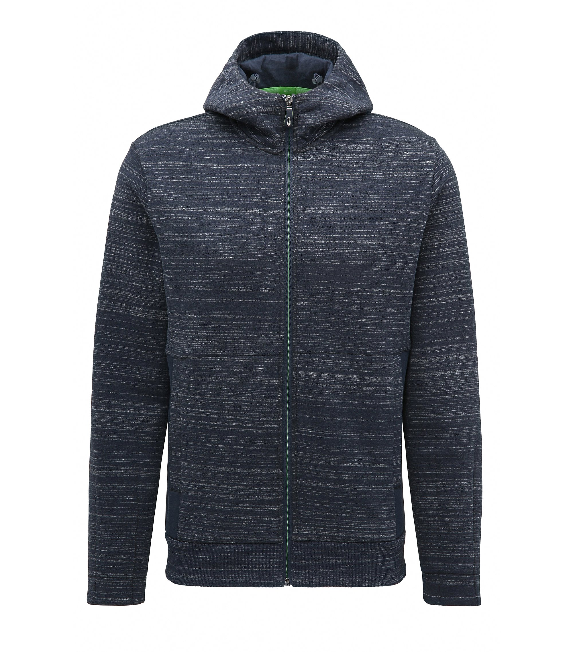 'Sverre' | Slim Fit, Cotton Blend Full-Zip Hooded Sweater, Dark Blue