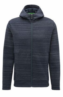 'Sverre' | Slim Fit, Cotton Blend Full-Zip Hooded Sweater, Dark Blue