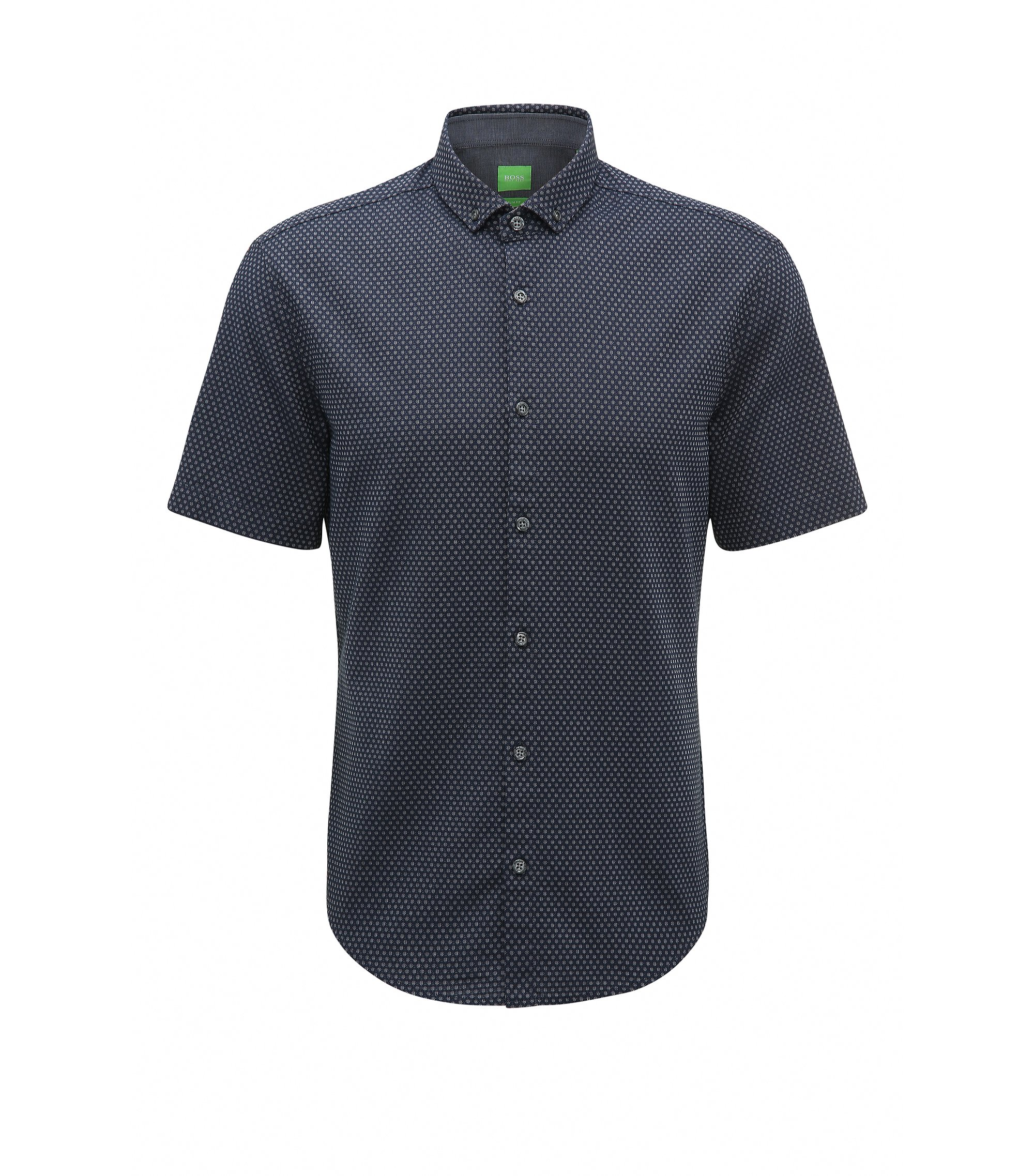 Birdseye Cotton Button-Down Shirt, Slim Fit | C-Bonettino, Dark Blue