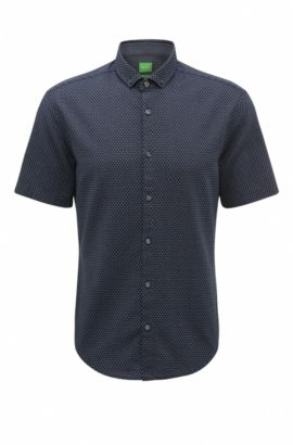 'C-Bonettino' | Slim Fit, Birdseye Cotton Button-Down Shirt, Dark Blue