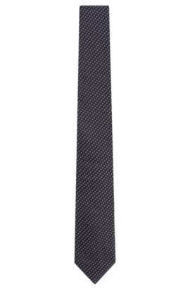 'Tie 7.5 cm' | Regular, Micro-Square Italian Silk Embroidered Tie, Black