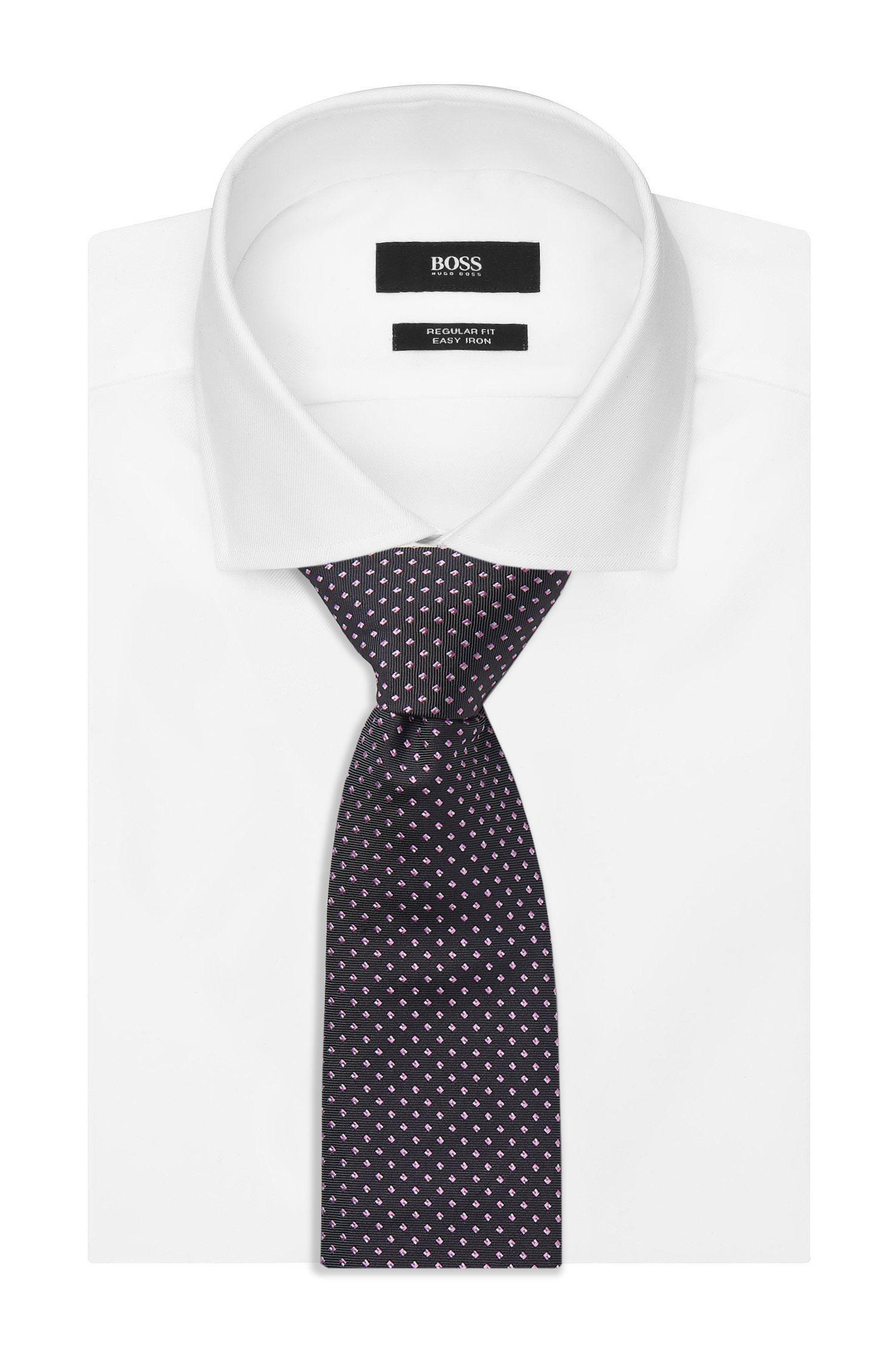 Dotted Italian Silk Tie, Black