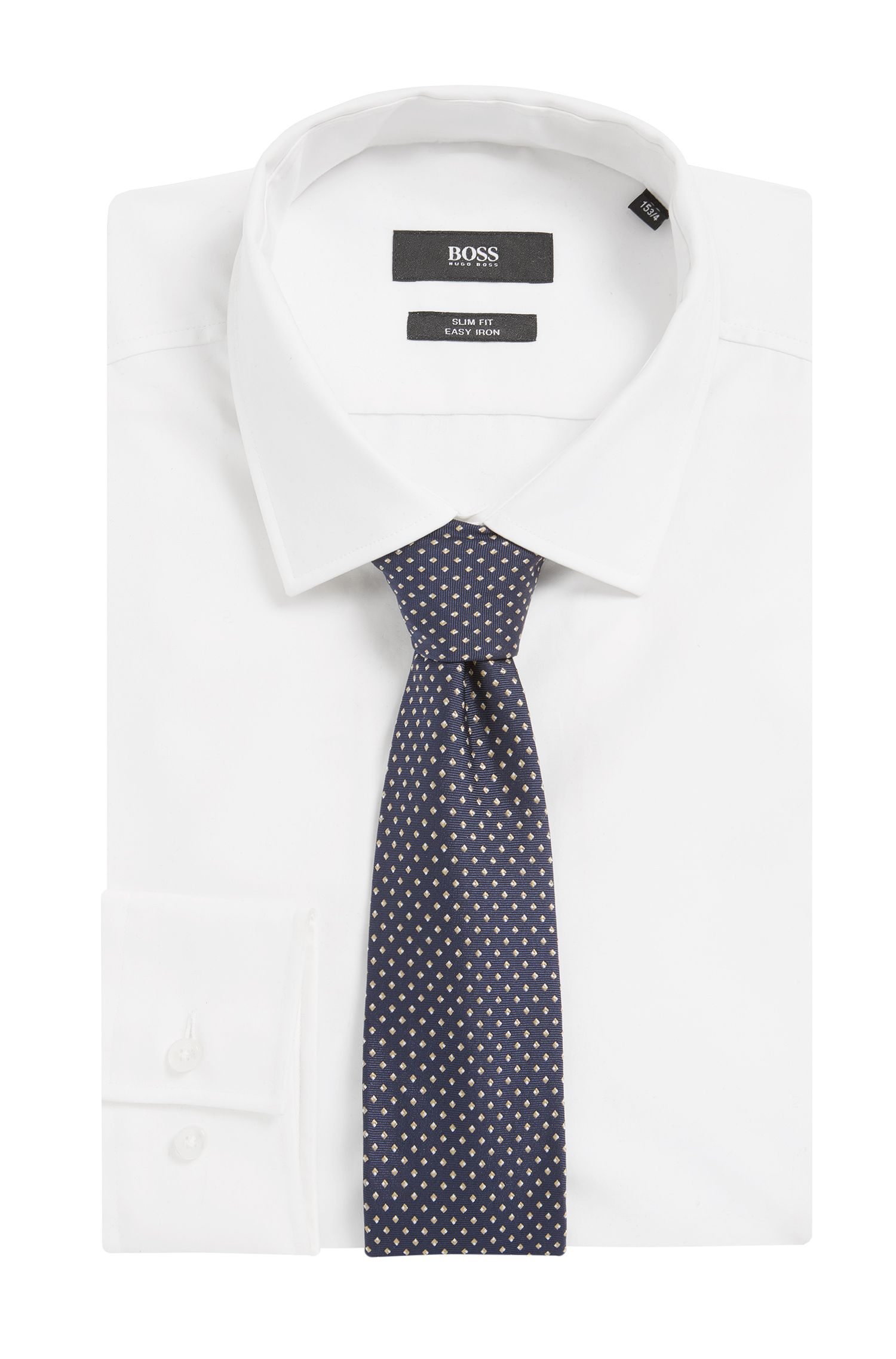 Dotted Italian Silk Tie, Dark Blue