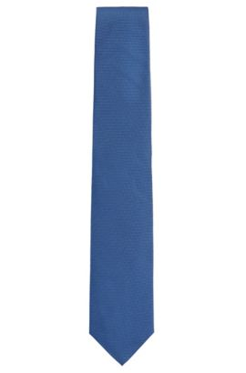 'Tie 7.5 cm' | Regular, Italian Silk Embroidered Tie, Open Blue